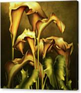 Golden Lilies By Night Canvas Print