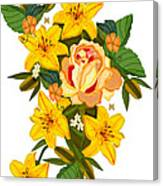 Golden Lily Flowers With Golden Rose Canvas Print