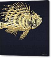 Golden Parrot Fish On Charcoal Black Canvas Print