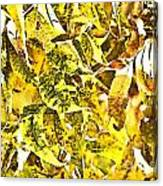 Golden Pecan Leaves Abstract Canvas Print