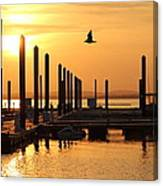 Golden Pier At Sunset Canvas Print