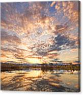 Golden Ponds Scenic Sunset Reflections 3 Canvas Print