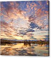 Golden Ponds Scenic Sunset Reflections 4 Canvas Print