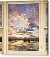 Golden Ponds Scenic Sunset Reflections 4 Yellow Window View Canvas Print