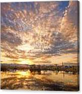 Golden Ponds Scenic Sunset Reflections 5 Canvas Print