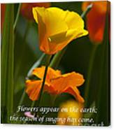 Golden Poppy Floral  Bible Verse Photography Canvas Print