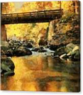 Golden Reflection Autumn Bridge Canvas Print
