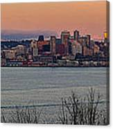 Golden Seattle Skyline Sunset Canvas Print