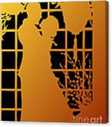 Golden Silhouette Of Couple Embracing Canvas Print
