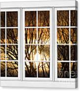Golden Sun Silhouetted Tree Branches White Window View Canvas Print