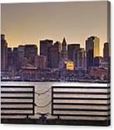 Golden Sunset Over Boston Canvas Print