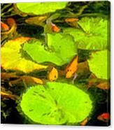 On Goldfish Pond Artwork Canvas Print