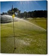 Golf Course Sprinkler On Sunny Day Canvas Print