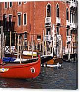 Gondolas In A Canal, Grand Canal Canvas Print