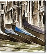 Gondolas-in-waiting   Venice Canvas Print