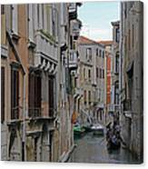 Gondolas On Backstreet Canal Canvas Print