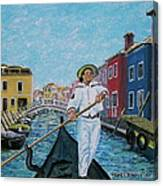 Gondolier At Venice Italy Canvas Print