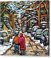 Good Day In January For Winter Stroll Snowy Trees And Cars Verdun Street Scene Painting Montreal Art Canvas Print