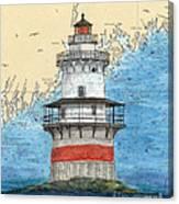 Goose Rocks Lighthouse Me Nautical Chart Peek Art Canvas Print