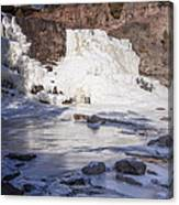 Gooseberry Middle Falls In Winter Canvas Print