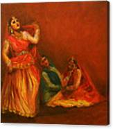 Gopis Distressed As Krishna Is Not Seen Canvas Print
