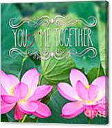Gorgeous Pair Pink Lotus Couple Blossoms Green Leaves Canvas Print