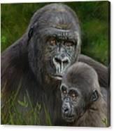 Gorilla And Baby Canvas Print