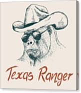 Gorilla Like A Texas Ranger Dressed In Canvas Print