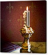 Gothic Scene With Candle And Gilt Edged Books Canvas Print