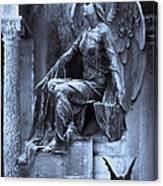 Gothic Surreal Cemetery Angel With Gargoyle And Bats Canvas Print