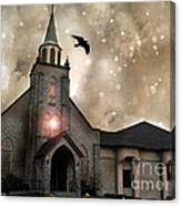 Gothic Surreal Haunted Church And Steeple With Crows And Ravens Flying  Canvas Print