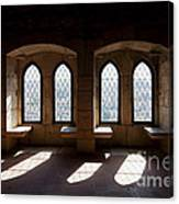 Gothic Windows Of The Royal Residence In The Leiria Castle Canvas Print
