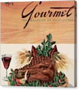 Gourmet Cover Featuring A Boar's Head Canvas Print