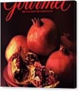 Gourmet Cover Featuring A Plate Of Pomegranates Canvas Print