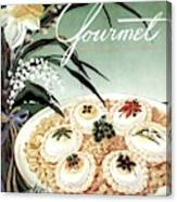 Gourmet Cover Featuring Poached Eggs On Cubed Canvas Print