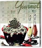 Gourmet Cover Illustration Of A Bowl Of Salad Canvas Print