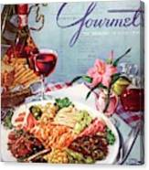 Gourmet Cover Illustration Of A Plate Of Antipasto Canvas Print