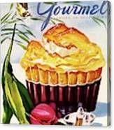 Gourmet Cover Illustration Of A Souffle And Tulip Canvas Print