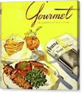Gourmet Cover Illustration Of Grilled Breakfast Canvas Print