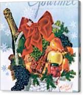 Gourmet Cover Illustration Of Holiday Fruit Basket Canvas Print