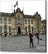 Government Palace Guards In Lima Canvas Print