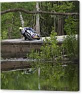 Superbike On Creek Bridge Canvas Print