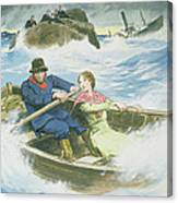 Grace Darling And Her Father Rescuing Canvas Print