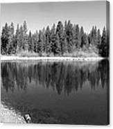 Grace Lake Reflections In Black And White Canvas Print