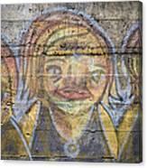 Graffiti Covered Cement Wall Canvas Print