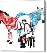 Graffiti Print Of Rembrandt Painting Stripes Zebra Painter Canvas Print