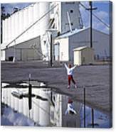 Grain Elevators And Child Canvas Print