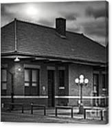 Train Depot At Night - Noir Canvas Print