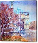 Grand Army Plaza With Lamppost And Tree Canvas Print