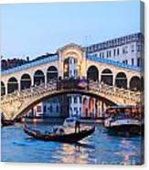 Grand Canal And Rialto Bridge At Dusk - Venice Canvas Print